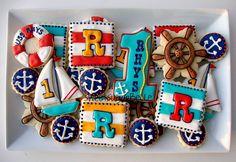 nautical. first birthday assortment. #nautical #cookie #birthday
