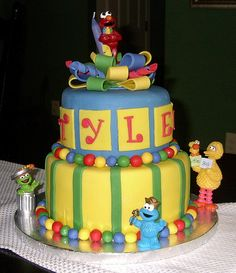 I'm looking for an Elmo cake for my almost 2 year old. This probably is too much, but cool.