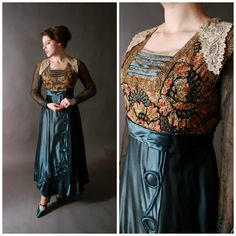 Edwardian Dress - Bold Teal Silk Dress with Colorful Embroidery and Metallic Lace c. 1915