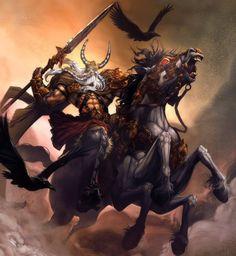 Odin: deus líder do panteão nórdico. Mestre da magia, senhor do conhecimento. Guardião da Sabedoria, foi aquele que bebeu da fonte da sabedoria do deus mimir.