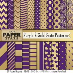 Purple & Gold Digital Paper Purple Gold by YourPaperStash on Etsy