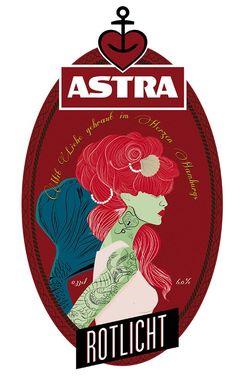 Grafikdesigner Andrea Pagano aus Italien hat die Astra-Bierflaschen-Label mal mit einem neuen Design versehen. Alles sieht sehr cool retro aus mit Pirat, Meerjungfrau und Seeungeheuer. Dabei natürlich auch irgendwie ein bisschen gruselig und mysteriös. Abe