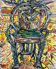 Philip Clairmont, Untitled (Chair) watercolour and gouache on card, signed and dated '76.