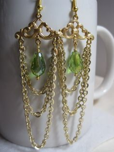 Green crystal chandelier earrings. Gold chain by ArtsParadis, $11.00