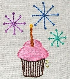 Cute Cupcake embroidery project.