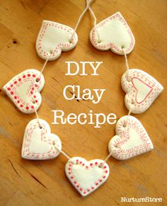 Great DIY homemade clay recipe, easy valentine craft made from clay, how to make clay Homemade Clay Recipe, Homemade Gifts, Valentine Day Crafts, Holiday Crafts, Kids Valentines, Crafts For Kids, Arts And Crafts, Diy Crafts, Pva Glue Crafts