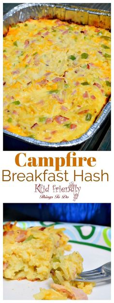 Easy Make Ahead Western Skillet Campfire Breakfast Recipe - Cowboy Breakfast Western Skillet recipe for the camping family breakfast - www. meals breakfast Cheesy Western Skillet with Hash Browns and Ham Breakfast Casserole {Make Ahead} Ham Breakfast Casserole, Breakfast Hash, Breakfast Skillet, Breakfast Ideas, Campfire Desserts, Campfire Food, Easy Campfire Recipes, Graham Crackers, Campfire Breakfast