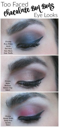 Three neat eye looks created using exclusively the Too Faced Chocolate Bon Bons palette! Great inspiration!