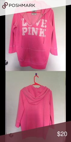 PINK pink hoodie  3/4 sleeve light hoodie for breezy summer  PINK Victoria's Secret Tops Sweatshirts & Hoodies