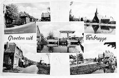 Fotokaart met 5 verschillende afbeeldingen van Terbregge. -1 en -2 Bergse Rechter Rottekade. -3 Prinses Irenebrug over de Rotte. -4 Nederlands-Hervormde Alexanderkerk. -5 Terbregseweg. (datering: 1950, pbk 1993-1070)