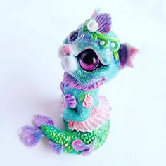 Purrmaid Art Figurine by FleurDeLapin Mermaid Cat, Clay Charms, Ooak Dolls, Biscuit, Paisley, Whimsical, Polymer Clay, Miniatures, Cute