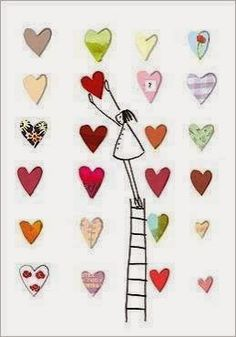 Girl on Ladder with Hearts. by Silke Leffler - Mana vietne Valentine Crafts, Valentine Day Cards, Valentines, Happy Paintings, Watercolor Cards, Heart Art, Whimsical Art, Diy Cards, Homemade Cards