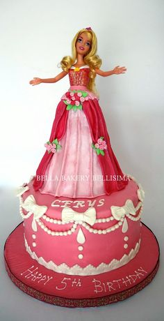 -: BARBIE DOLL - PRINCESS AURORA CAKE