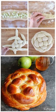 Apple Honey Challah by Tori Avey - Includes Delicious Tested Recipe and Free Braiding Instructions for a Perfect Challah Every Time Sukkot Recipes, Jewish Recipes, Sicilian Recipes, Baking Recipes, Holiday Recipes, Sicilian Food, Best Bread Recipe, Zopf Bread Recipe, Challah Bread Recipes