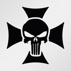 Punisher Skull Maltese Cross Car Body Window Bumper Vinyl Decal Sticker #Oracal