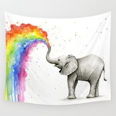 rainbow, watercolor, elephant, animal...