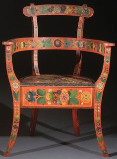 A very fine norwegian bent wood chair with rosemaling, attributed to Annanius Tveit (1847-1925), in the os style