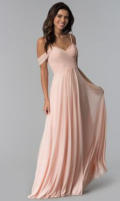 Image of long pleated-bodice cold-shoulder bridesmaid dress. Style: F… Image of long pleated-bodice cold-shoulder bridesmaid dress. Flowy Bridesmaid Dresses, Pastel Bridesmaid Dresses, Prom Dresses, Destination Bridesmaid Dresses, Pastel Dresses, Evening Dresses, Chiffon Dresses, Formal Dresses, Maid Of Honour Dresses