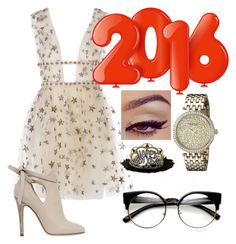 """""""My outfit for New Years 2016"""" by emilytheunicorn1 ❤ liked on Polyvore featuring Jimmy Choo and Caravelle by Bulova"""