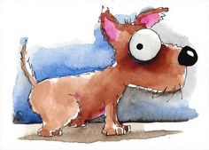 ACEO Original watercolor art whimsical animal painting pet dog puppy ready to go #Folkartillustration