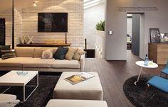 57 ideas living room white brick wall loft for 2019 White Brick Wallpaper, White Brick Walls, Grey Walls, Living Room White, White Rooms, Living Rooms, Living Spaces, Loft Design, Design Studio