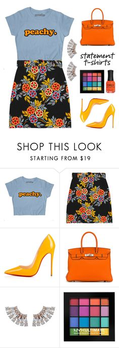 """""""Feeling Peachy"""" by stavrolga ❤ liked on Polyvore featuring MSGM, Christian Louboutin, Hermès, NYX, ORLY, floralprint, floralskirt, polyvoreeditorial and statementtshirt"""