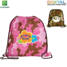 Like US on FACEBOOK for Special Product Offers and Discounts! Promotional Non-Woven Camo Drawstring Backpack Full Color Digital | Customized Drawstring Bags | Promotional Drawstring Bags