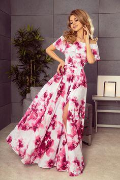Long dress with frill - big pink flowers Markova, Bardot Dress, Mode Shop, Motif Floral, Modern Outfits, Holiday Dresses, Bollywood Fashion, Floral Maxi Dress, Women's Fashion Dresses
