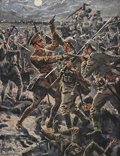 Melee combat between German and British infantry, WWI