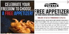 Outback Steakhouse: Free Appetizer With Entree Purchase Through July Restaurant Deals, Outback Steakhouse, July 4th, Entrees, Coupon, Appetizers, Free, 4th Of July, Snacks