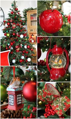 traditional christmas tree with red green decorations berries and robin ornaments