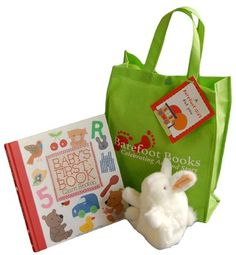 Baby Gift Set - Baby's First Book, White bunny puppet, & a reusable green shopper tote.