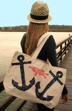 Navy Anchor w/ Coral Rope JUMBO Canvas Tote Bag: Beach Decor, Coastal Home Decor, Nautical Decor, Tropical Island Decor & Beach Cottage Furnishings