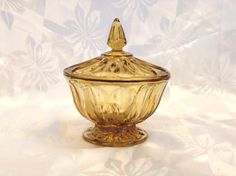Beautiful Amber Glass Candy Dish Fairfield by VintageGlassEscape