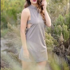 Faux suede cutout Dress 100% Polyester soft faux suede. Available in 2 colors Please do not buy this listing! I will make you a separate listing for the size you need. Please NO TRADES OR PAYPALPrice is firm. Dresses Mini
