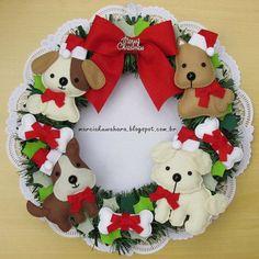 Guirlanda Natalina_Natal 2014 (M. Felt Christmas Decorations, Xmas Wreaths, Felt Christmas Ornaments, Christmas Time, Holiday Crafts, Holiday Decor, 242, Christmas Sewing, Christmas Inspiration