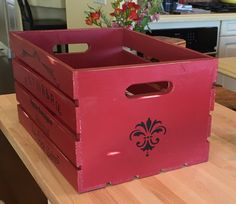 Hand Painted French Bakery Crate Red by OurVintageKitchenCo