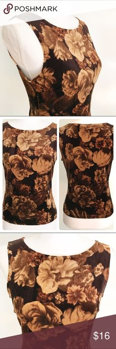 """Crushed Velvet 90s Inspired Brown Floral Tank Soft and stretchy, with a very 90s trendy feel. Underarm to underarm: 18"""" Length from shoulder to bottom hem: 20"""" (semi cropped, sits at waist on most). Fabric tag has been removed. Brand: Aziz Size: Small Aziz Tops Tank Tops"""