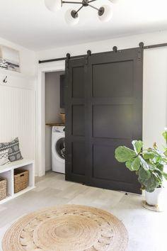 Closet Door Makeover, Barn Door Closet, Diy Sliding Barn Door, Sliding Closet Doors, Diy Barn Door, Diy Door, Replacing Closet Doors, Cheap Barn Doors, Bifold Barn Doors