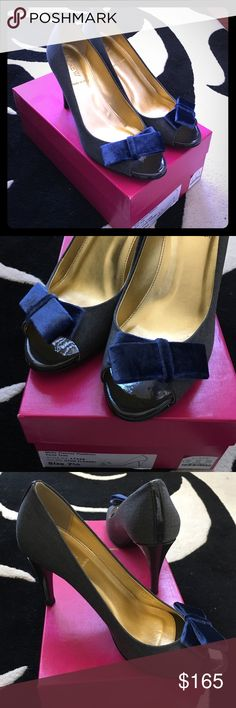 "J.Crew dark gray & blue velvet bows peep-toe pumps Dark gray fabric with blue velvet bows. Dark gray patent leather trim and heels. Worn once and in excellent condition. Approx 3.5"" heels with 0.25"" covered platform. Made in Italy. Comes with original box. J. Crew Shoes Heels"