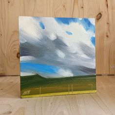 Wes Martin (AWM-Artist) 6x6 inch Oil on Board. The rising cumulus, newly born, rising off the moors over Lancaster