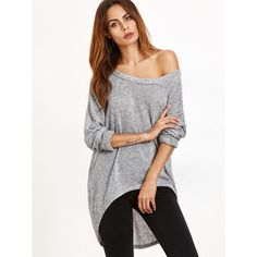 SheIn(sheinside) Grey One Shoulder Dip Hem T-shirt ($12) ❤ liked on Polyvore featuring tops, t-shirts, one sleeve top, gray t shirt, cotton blend t shirts, long sleeve tops and stretch t shirt