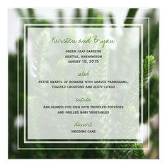 Photo Wedding Menu Photography Green Grass Nature Photo Wedding Menu Card