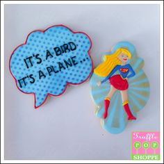 Supergirl Cookies made by The Truffle Pop Shoppe