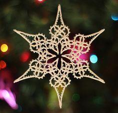 Treetop Pattern PDF, tatting pattern, tatted snowflake, Christmas tatting, beaded tatting, tatting points, lace, snowflake,