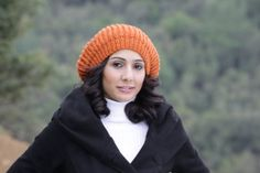 Women Slouch Knit Hat in pumpkin Orange knit hat by SENNURSASA, $26.00