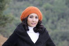 Women Slouch Knit Hat in pumpkin Orange knit hat by SENNURSASA, $26.00