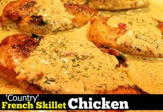 Print PDF        I am so excited to share this easy & delicious skillet chicken with you guys today!  This was one of the easiest and best tasting recipes I have had in a while and you can bet it is back on our menu again next week!  I served it over buttered …