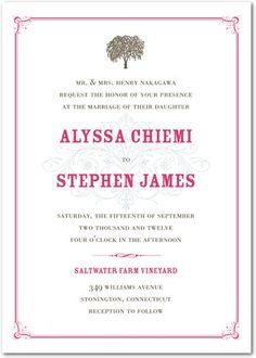 Signature White Textured Wedding Invitations French Flourish - Front : Begonia