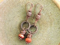 Ladies Goldstone and Copper Earrings by Mojowoman on Etsy, $17.00